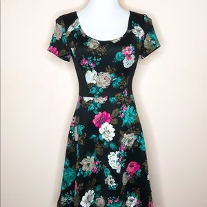 ELLE Winter Floral Fit and Flare Scuba Dress, Sz 4